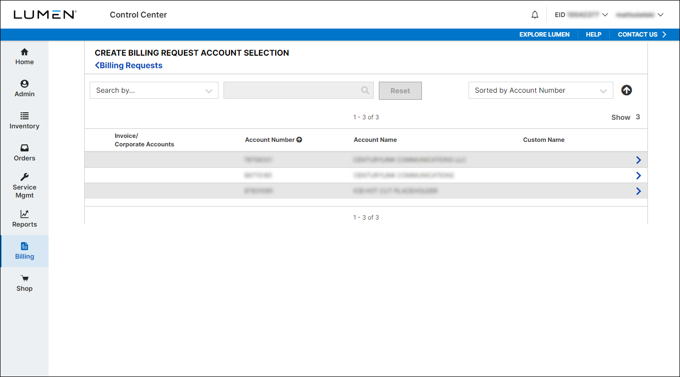 Create Billing Request Account Selection
