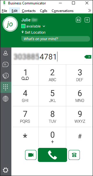 Dialpad (showing phone number entered)