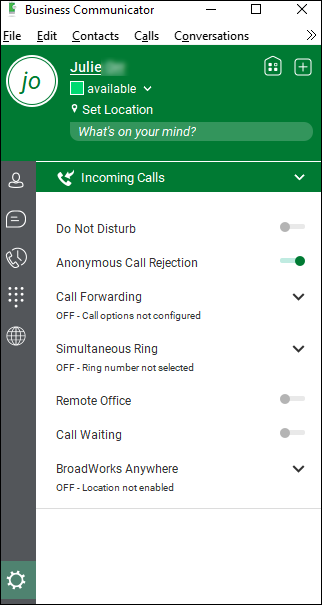 Options > Incoming Calls > Anonymous Call Rejection on