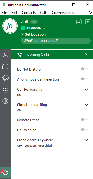 Incoming Calls > Call Forwarding on