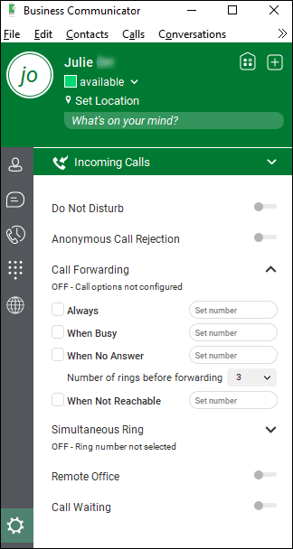 Incoming Calls > Call Forwarding