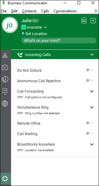 Incoming Calls > Call Forwarding off