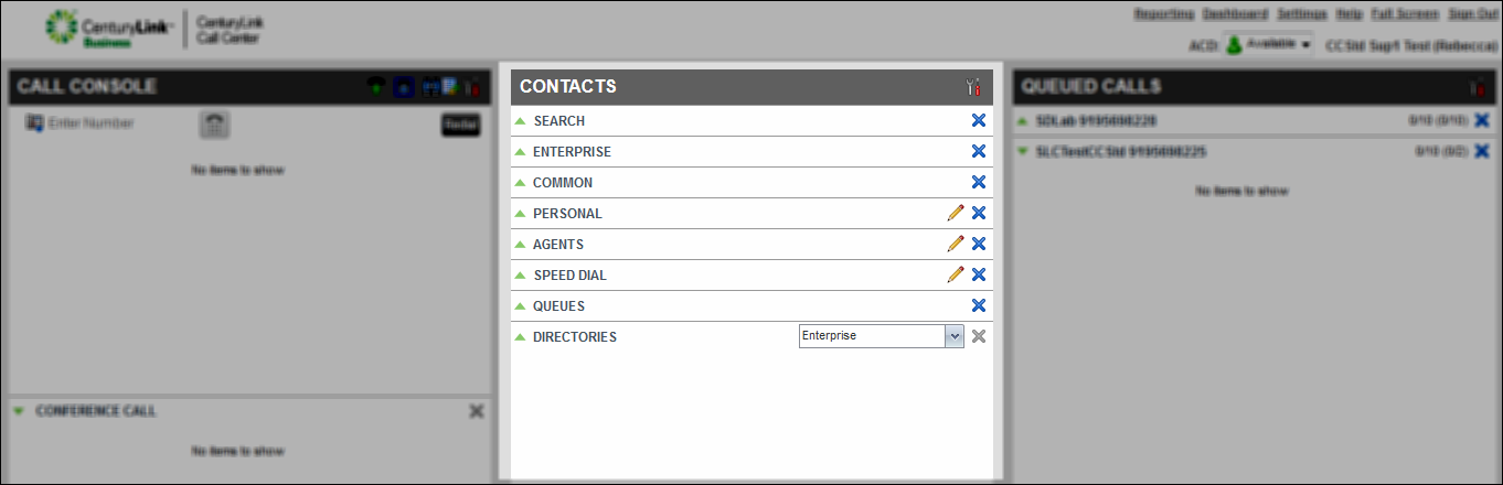 contact center supervisor client contacts pane highlighted