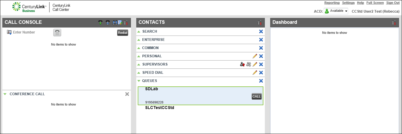 contacts pane queues phone number call