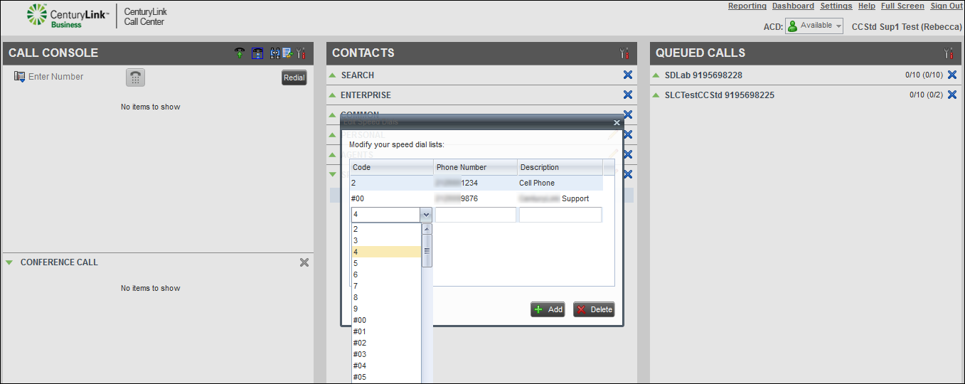 voip contact center contacts pane select speed dial number