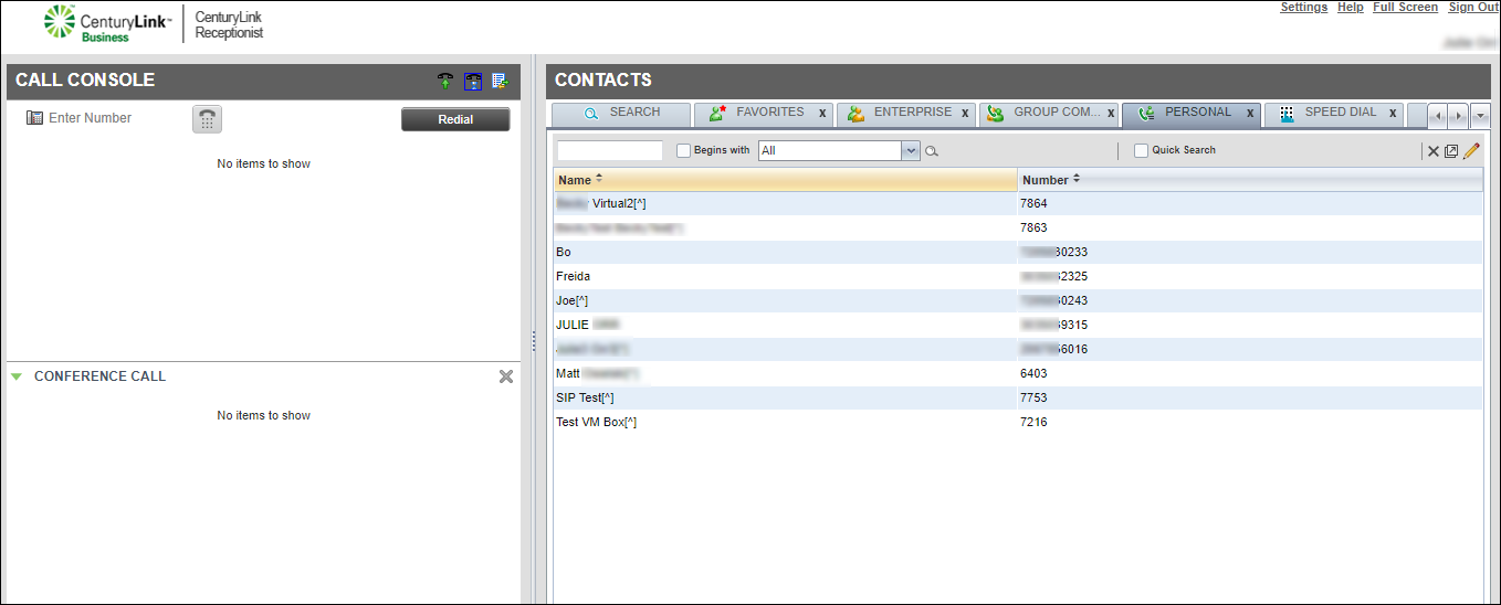 contacts pane personal directory