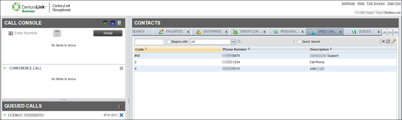 contacts pane speed dial directory